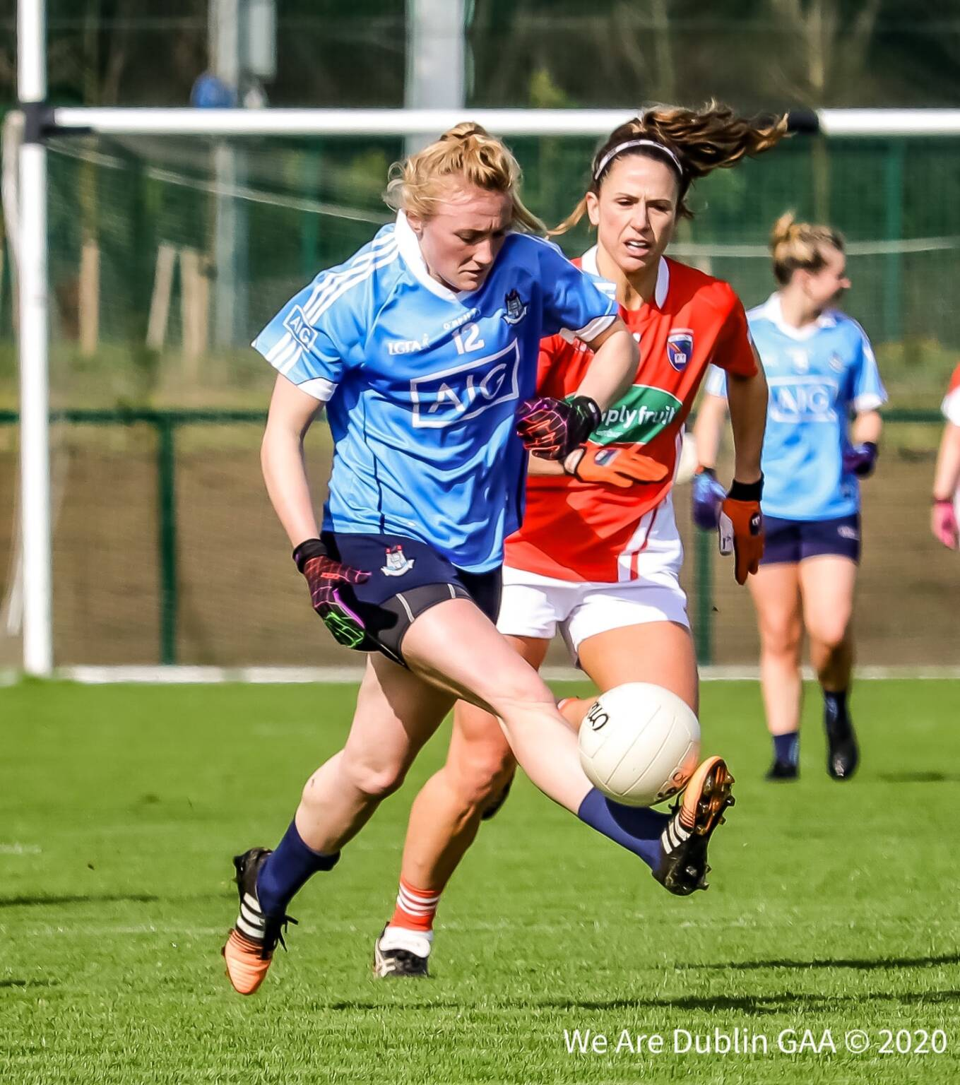 Dublin and Armagh players in action, the LGFA are looking for Dublin supporters to feature on the TG4 Fanwall during this Saturday's All Ireland ladies football semi final between Dublin and Armagh