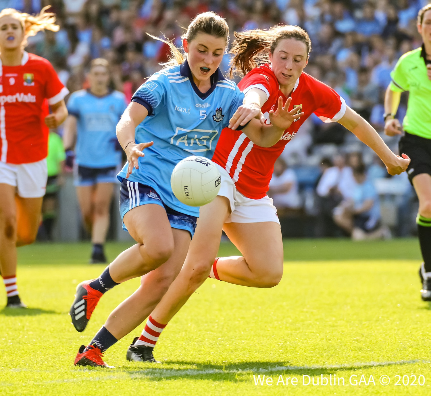 Dublin's Aoife Kane in action against Cork in last years All Ireland championship both sides meet again on Sunday as the Intermediate and Senior All Ireland ladies football championships come to a conclusion