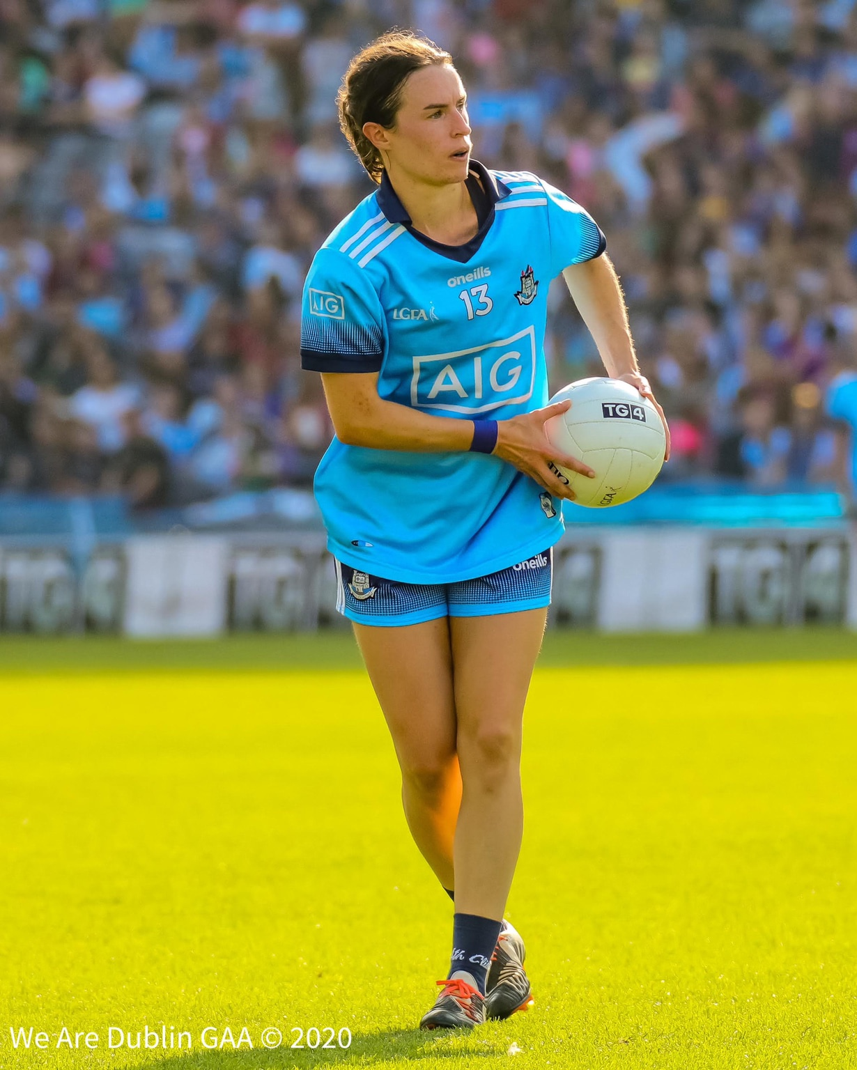 Dublin Captain Sinead Aherne takes a free against Cork, the Dubs captain says no punches will be pulled in this weekends All Ireland final between the two teams.