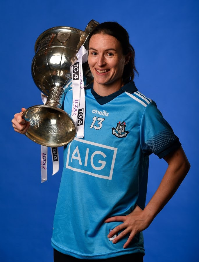 Dublin's Sinead Aherne holding the Brendan Martin Cup at a media event, the Dublin Captain will lead out her side on Sunday in the All Ireland Final in Croke Park.