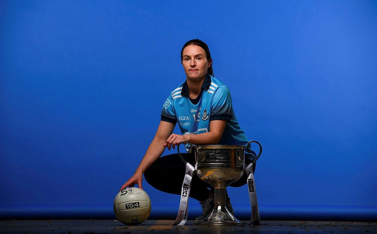 Dublin Captain Sinead Aherne pictured with the Brendan Martin cup and a football, Dublin Captain Aherne is confident she will be fit for the All Ireland Final against Cork.