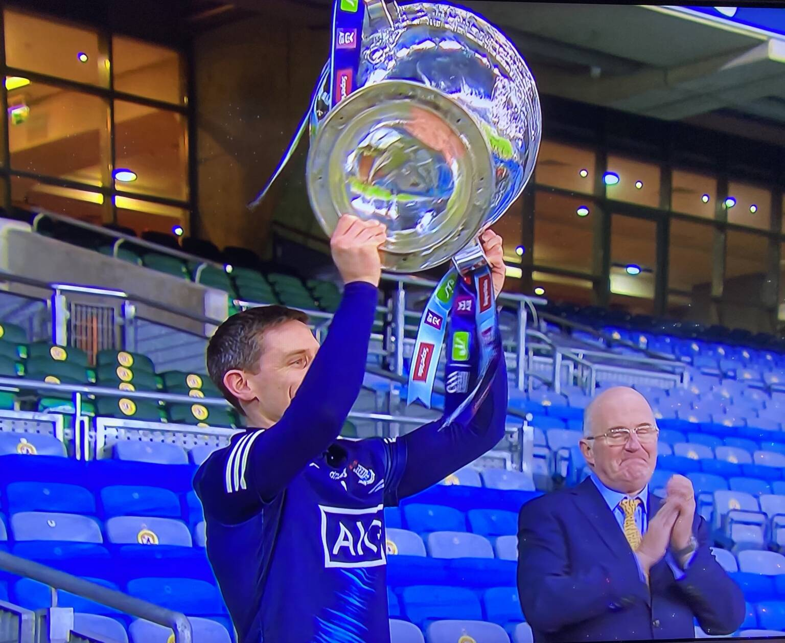 Dublin captain Stephen Cluxton lifts the Sam Maguire cup as Dublin are crowned six-in-a-row champions