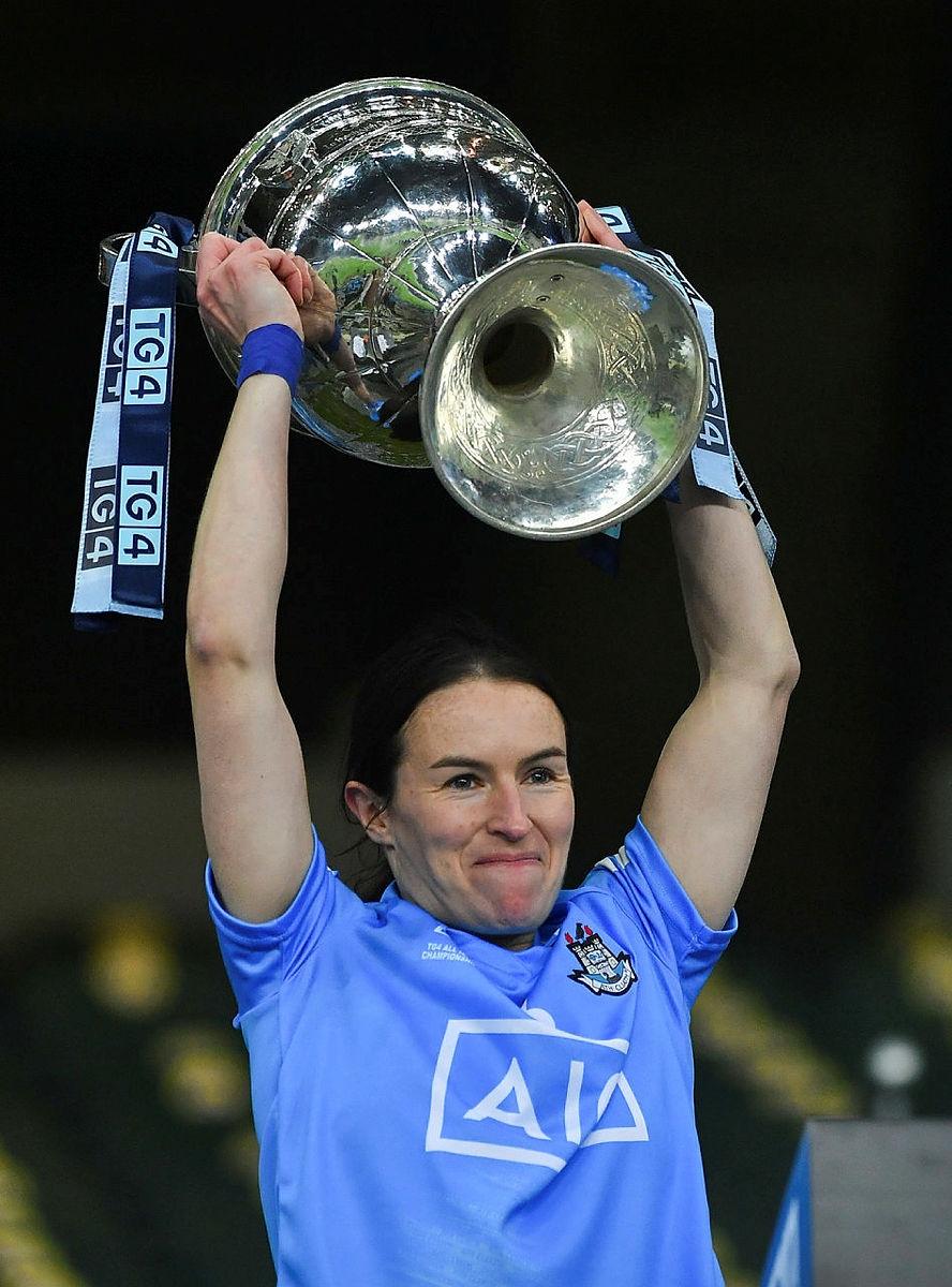 Dublin Captain Sinead Aherne lifts the Brendan Martin cup as Dublin claim their fourth TG4 All Ireland Senior title in a row