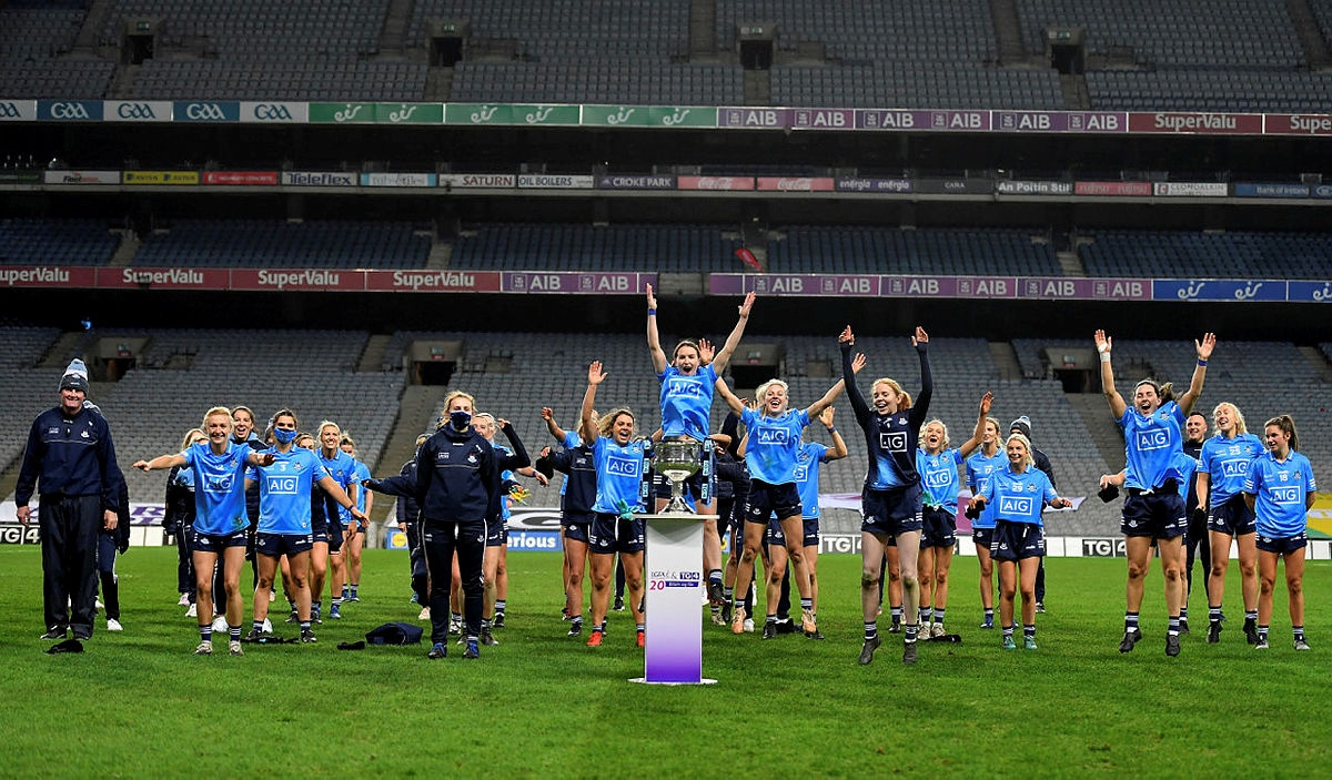 The Dublin team celebrate with the Brendan Martin Cup after the TG4 All-Ireland Senior Ladies Football Championship Final match between Cork and Dublin at Croke Park, Dublin won their fourth TG4 All Ireland title in a row.