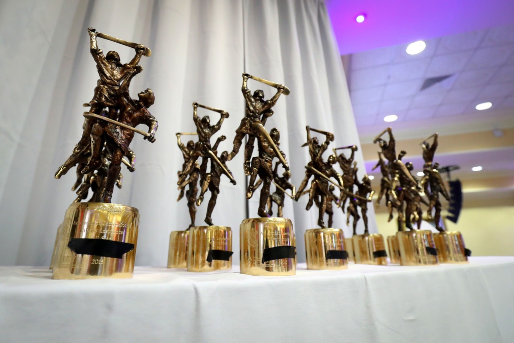 A row of trophies on a table to signify the announcement of the 2020 Camogie All Stars winning selection