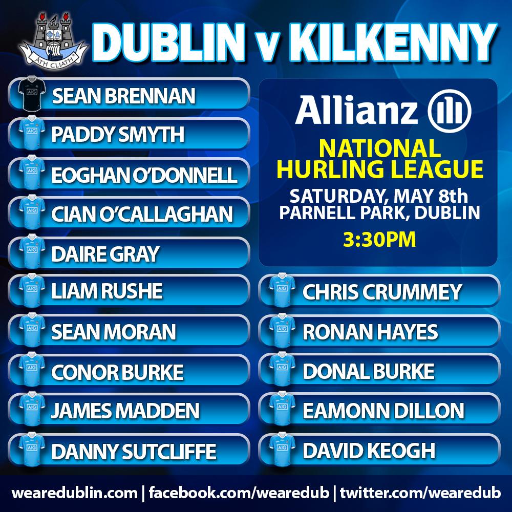 Mattie Kenny - Dublin Senior HUrling Starting 15 - Dublin v Kilkenny