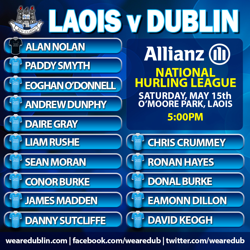 Dublin Senior Hurlers Starting 15 v Laois
