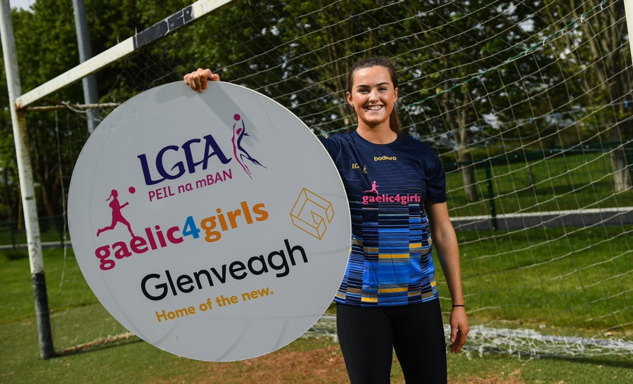 Armagh's Aimee Mackin in attendance at the announcement of Glenveagh Homes as the new sponsors of the LGFA's Gaelic4Girls programme.