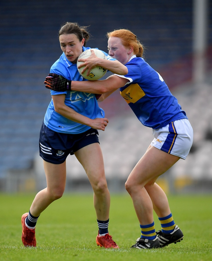 Dublin Captain Sinead Aherne in action against Tipperary in her sides Lidl NFL Round 3 win.