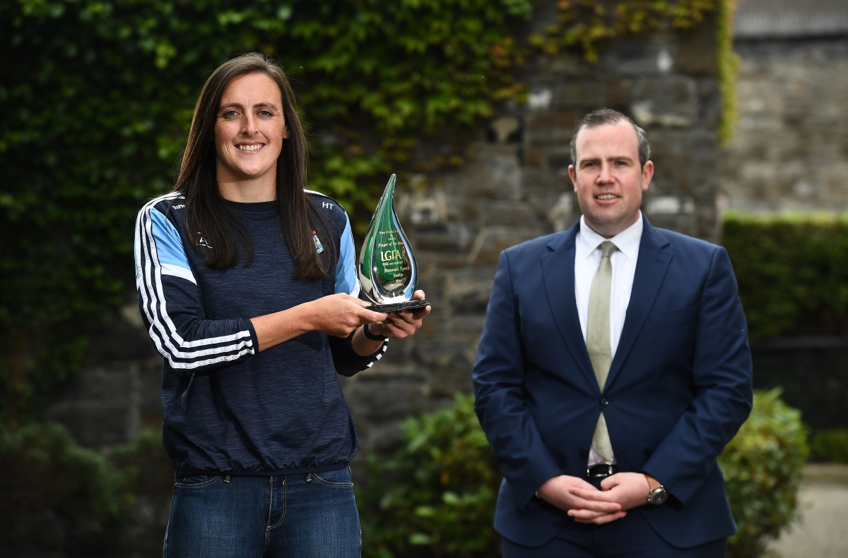 Dublin's Hannah Tyrrell holding her Player of the Month Award for May