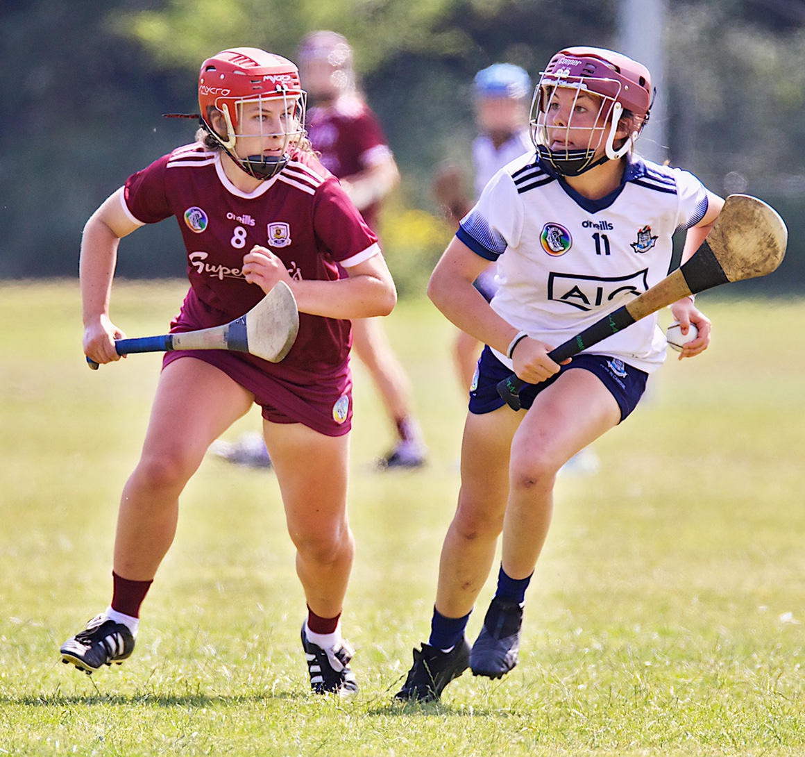 A Dublin minor Camogie player in action against Galway in this afternoons Minor A Championship thriller which Galway won by a point.