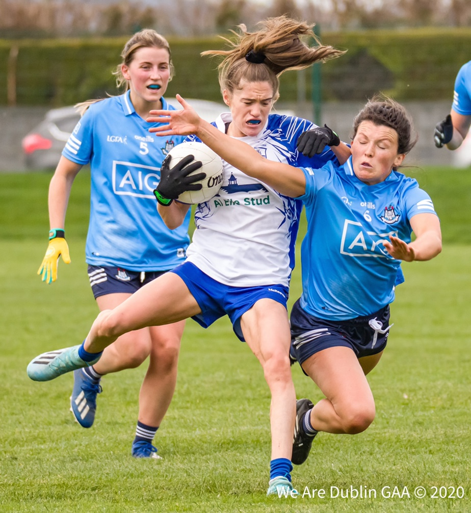 Dublin's Leah Caffrey tackles a Waterford in their championship game last November, the two sides meet again this weekend in a TG4 All Ireland Senior Football Championship Round 2 fixture.