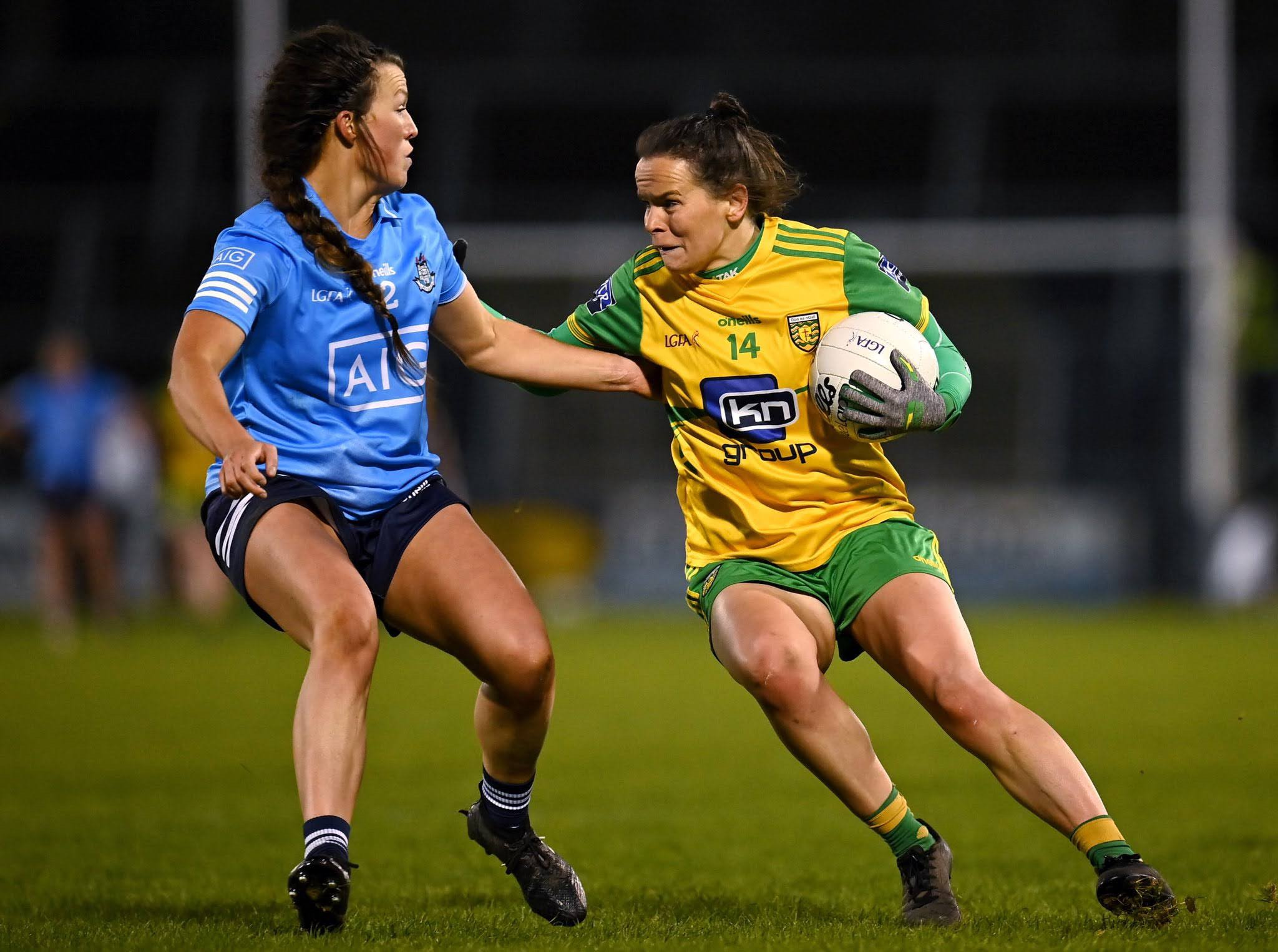 A Dublin and Donegal Ladies footballer in action during last years Championship, both teams meet again in the TG4 All Ireland quarter final this Monday.