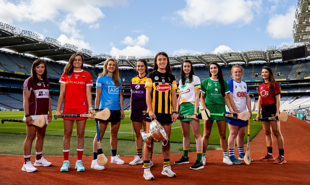 Nine Camogie players pictured in Croke Park at a launch event for the 2021 All Ireland Camogie Championships