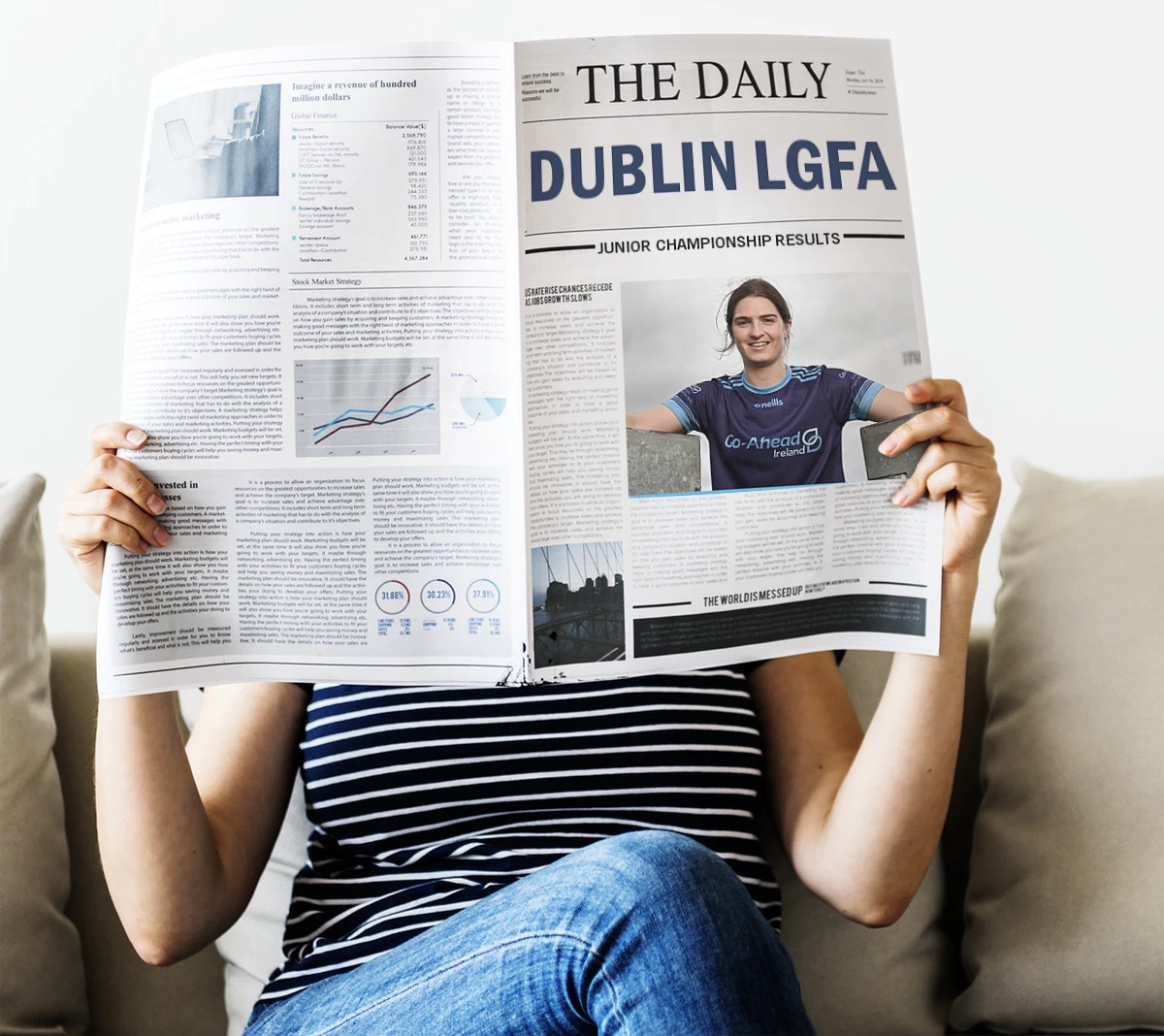 A person hold a newspaper with the title Dublin LGFA and subtitle Junior Championship and Adult League Results.