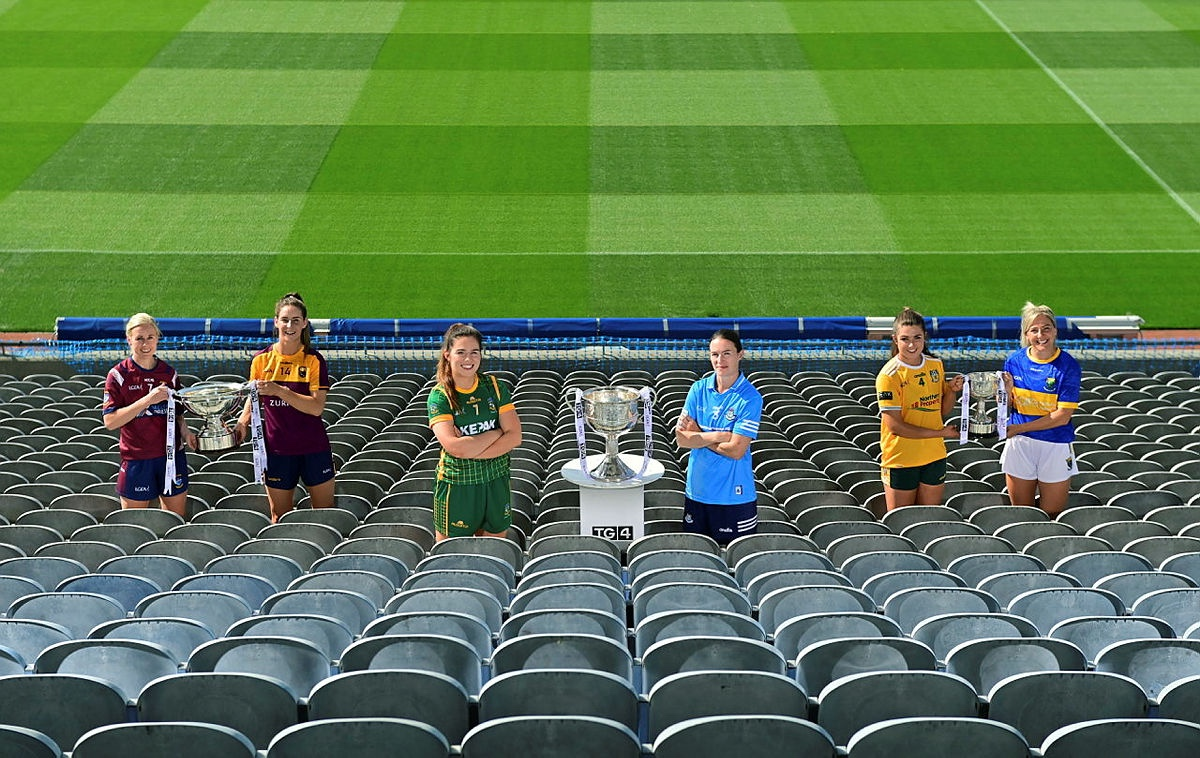 The Captains from the participating counties at a photo shoot in Croke Park ahead of this weekends TG4 All Ireland Ladies Football Championship finals, Leinster teams could claim a clean sweep of titles on Sunday.