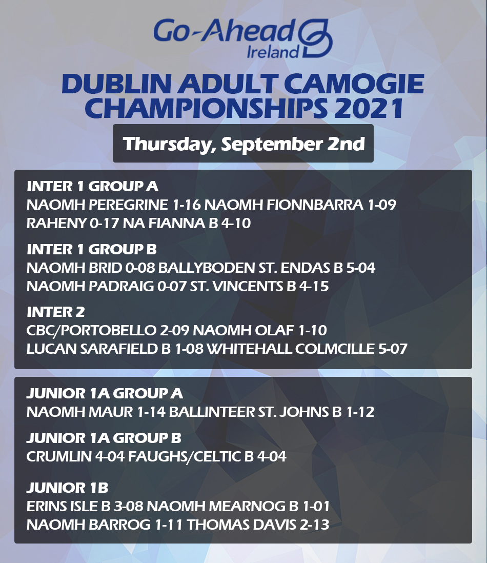 Adult Camogie Championship - Week 2 Results