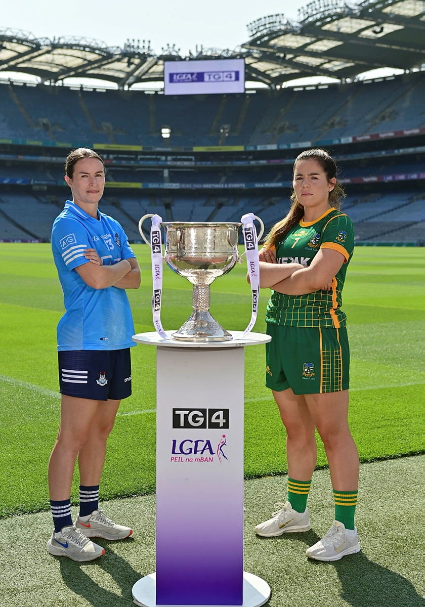 Dublin and Meath Captains pictured at a photo shoot in Croke Park ahead of this Sunday's 2021 TG4 All Ireland Ladies Football Championship finals.