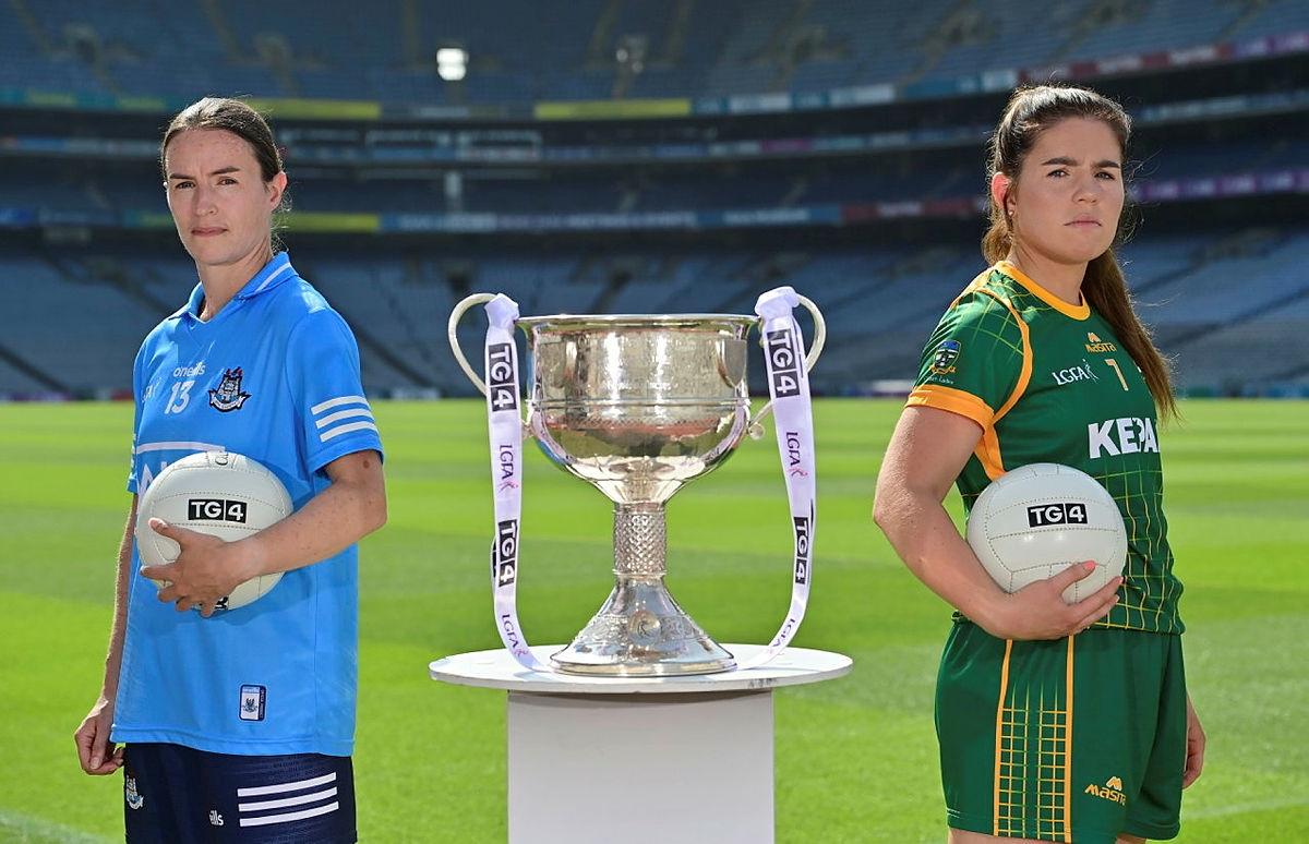 Dublin and Meath captains pose with the Brendan Martin Cup at a photo shoot in Croke Park ahead of the 2021 Senior All Ireland Final