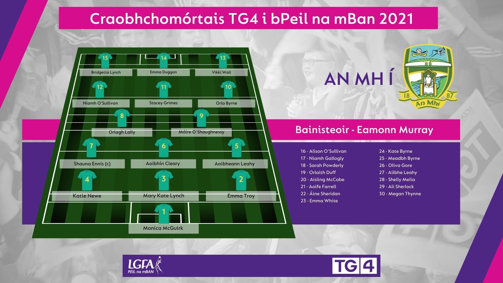 Image of Meath team selection in the match programme for the 2021 TG4 All Ireland Ladies Football Championship finals on Sunday.