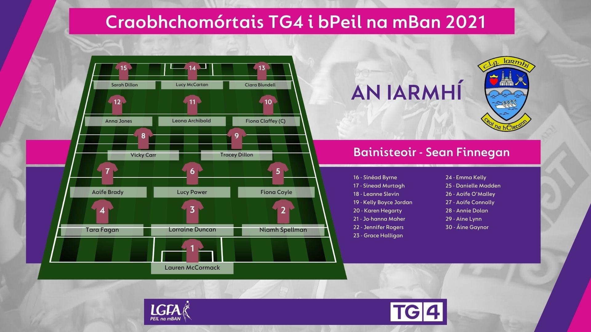 Image of Westmeath team selection in the match programme for the 2021 TG4 All Ireland Ladies Football Championship finals on Sunday.