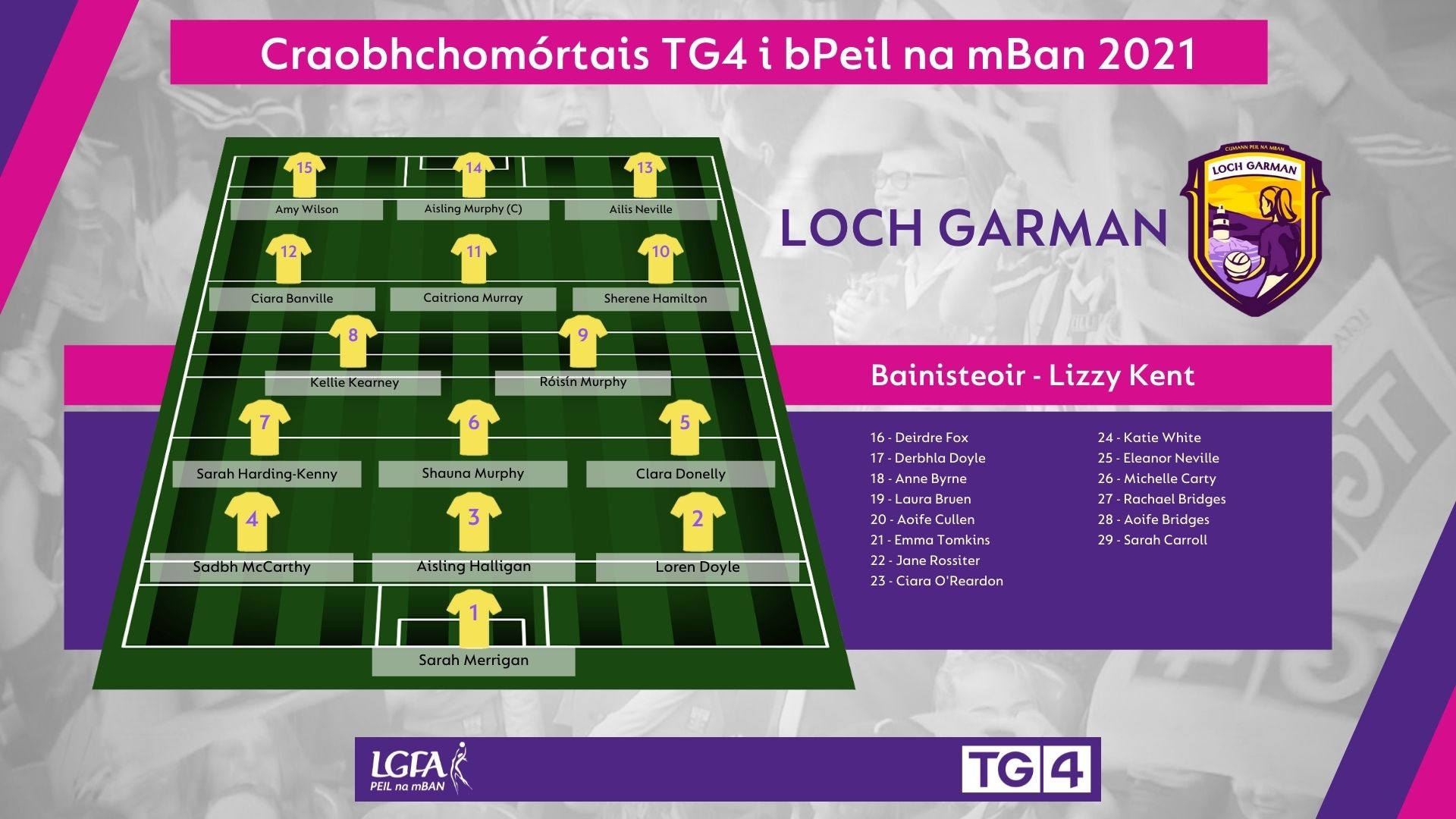 Image of Wexford team selection in the match programme for the 2021 TG4 All Ireland Ladies Football Championship finals on Sunday.