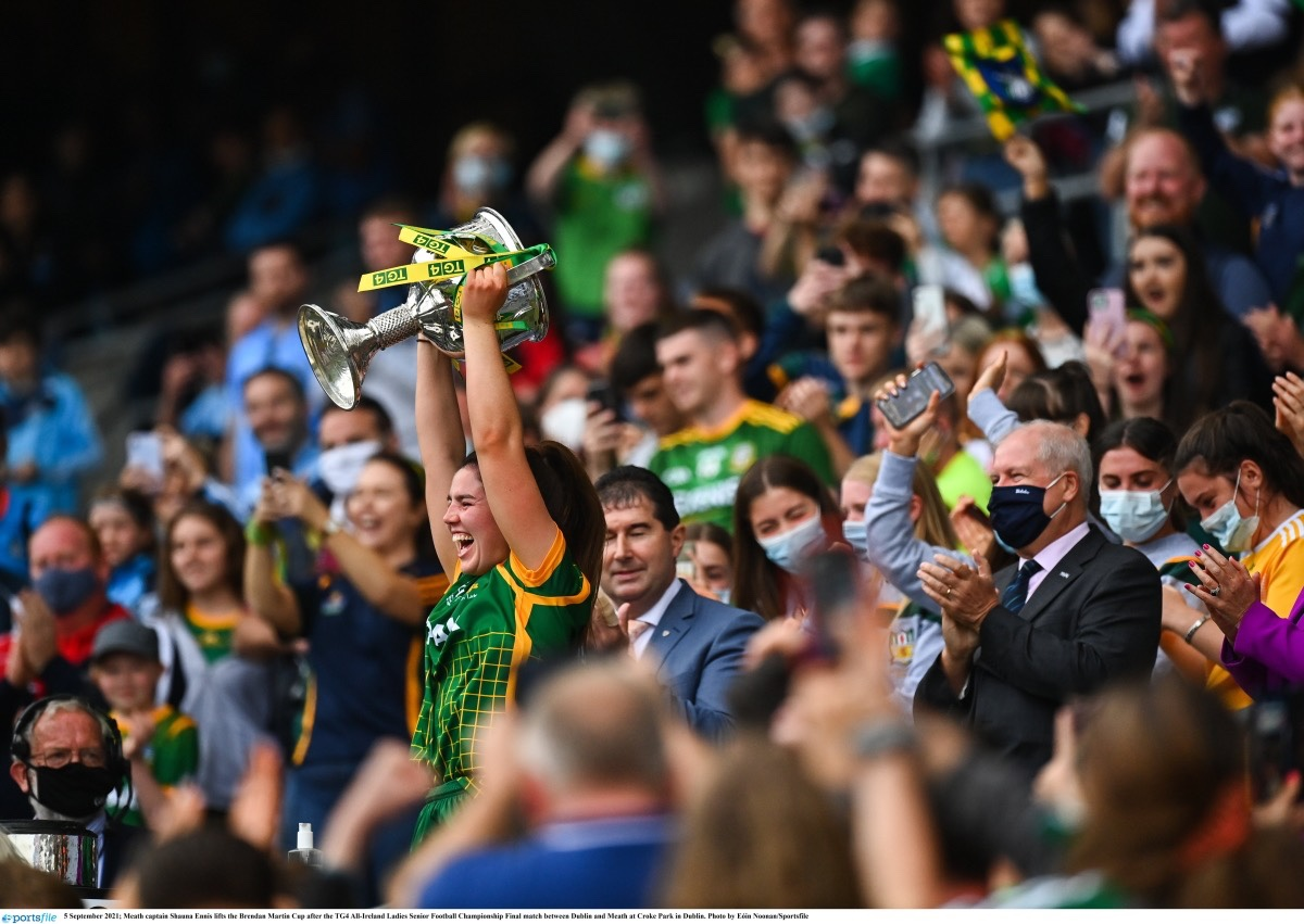 Meath captain Shauna Ennis lifts the Brendan Martin Cup after the TG4 All-Ireland Ladies Senior Football Championship Final match between Dublin and Meath at Croke Park in Dublin.