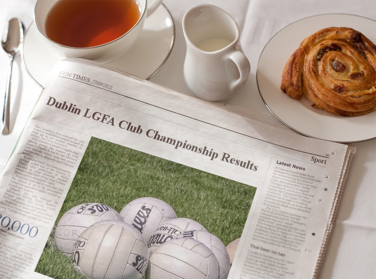 A newspaper on a breakfast table with the headline Dublin LGFA Club Championship Results